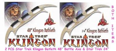 """2 Pcs Star Trek Klingon Batleth 48"""" + 24"""" Battle Axe"""