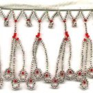 "Beaded fringe 38"" width scallop wave bugle and beads f01red *free shipping"