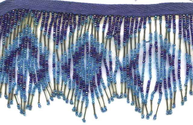"""Beaded fringe 38"""" width scallop wave glass bugle and beads f10b *free shipping"""