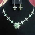 wedding jewelry bridal accessories alloy floral necklace set KN613green  *FREE SHIPPING