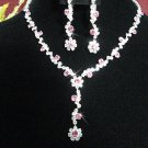 bridal jewelry accessories silver pink bride bridesmaid necklace set N4179P