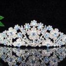 Bridesmaid wedding tiara bride jewelry accessories floral silver alloy crystal headpiece KC564B