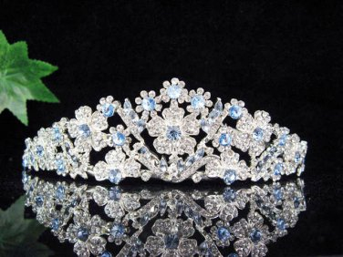 Bridesmaid wedding tiara bride jewelry accessories floral silver alloy crystal headpiece KC564B