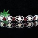 Bride bridesmaid wedding tiara accessories silver pearl crystal red headband comb 604R