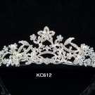 Bride bridesmaid wedding accessories silver alloy floral crystal regal comb 612