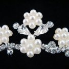 Bride bridesmaid wedding tiara accessories crystal floral pearl regal comb 592