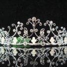 wedding tiara bridal accessories,silver filigree crystal headpiece ,pearl regal imperial comb 5033S