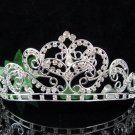 Huge wedding tiara, bridal accessories silver crystal headpiece regal imperial comb 493