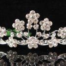 Bridal accessories wedding floral tiara,silver handmade crystal headpiece regal imperial comb 1311
