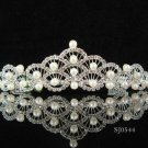 Handmade Bridal accessories wedding pearl tiara crystal headpiece regal imperial comb 0544S