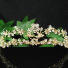 Bridal accessories wedding hair tiara crystal floral golden headpiece regal imperial comb SJ1175G