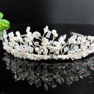 Bridal accessories; wedding hair tiara handmade silver crystal headpiece imperial; comb C7783
