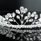 Bridal accessories; wedding hair tiara handmade silver crystal headpiece imperial; comb 9027