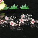 6 pc handmade Wedding accessories;bridal bridesmaid silver pink hairpin;floral tiara 1606p