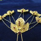 6 pc handmade Wedding accessories;bridal headpiece;bridesmaid golden alloy hairpin;headband 1065g