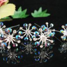 6 pc handmade Wedding hair accessories;bridal hairpin bridesmaid silver crystal floral pin 1529