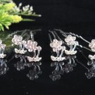 6 pc Wedding accessories; handmade bridal hairpin bridesmaid floral alloy pin F1353