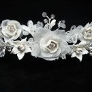 Bridal accessories;wedding tiara;rhinestone headpiece;floral porcelain regal LP113