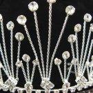 Bridal hair accessories;wedding tiara rhinestone headpiece handmade clear crystal huge regal 2490s