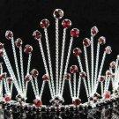 Bridal hair accessories;wedding tiara;rhinestone headpiece crystal red huge regal 2490r