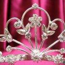 Bridal hair accessories wedding tiara rhinestone headpiece silver floral crystal comb 5261