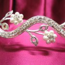 Bridal hair accessories;wedding tiara rhinestone headpiece silver floral pearl crystal band 5909