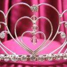 Bridal hair accessories;wedding tiara;rhinestone headpiece handmade silver sweetheart regal g341
