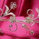 Bridal accessories;wedding tiara;rhinestone headpiece;handmade silver floral regal band 2525