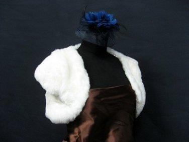 Handmade Bridal accessories;faux fur ivory bolero jacket ;shawl or wrap sh15i