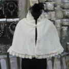 Handmade wedding Faux fur ivory bolero jacket ;bridal jacket ;shrug ;shawl or wrap sh3i