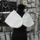 Handmade Faux fur ivory bolero jacket ;bridal long jacket ;shrug ;shawl or wrap sh14i