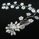 Bridal hair accessories wedding headband crystal pearl floral hair bridal comb 40071