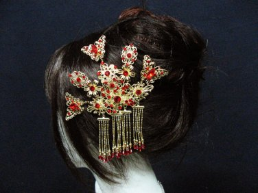 wedding tiara bridal hair accessories crystal red alloy golden butterfly bridal comb SL1183GR
