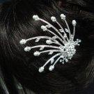 wedding tiara bridal hair accessories rhinestone alloy silver crystal pearl bridal comb NV2644