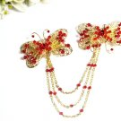 wedding tiara bridal hair accessories rhinestone butterfly crystal alloy golden bridal comb 1375G