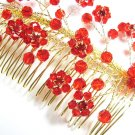 Bridal hair accessories;wedding tiara;rhinestone floral red crystal bridal comb 40171G