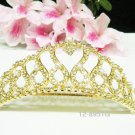 wedding tiara bridal hair accessories elegance rhinestone crystal golden bridal comb 8591G