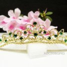 Bridal hair accessories;wedding tiara;rhinestone filigree golden green crystal bridal comb 06GG