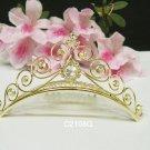Bridal hair accessories wedding tiara rhinestone filigree floral golden crystal bridal comb 2108G