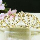 Golden Bridal hair accessories wedding tiara rhinestone headpiece sweetheart crystal comb 3569G