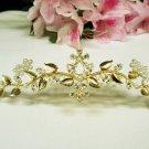 Golden wedding hair accessories bridal tiara , rhinestone floral crystal comb 4936G