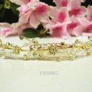 Floral Bridal hair accessories;wedding tiara;rhinestone headpiece golden crystal comb 5548G