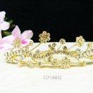 Golden wedding hair accessories bridal tiara;rhinestone headpiece floral crystal comb 7186G
