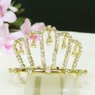 Golden Bridal hair accessories,wedding tiara veil,rhinestone headpiece ,crystal comb 011G