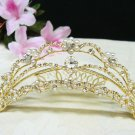 Bridal crystal golden comb hair accessories,wedding tiara ,rhinestone headpiece veil 4295G
