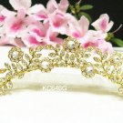 Golden crystal floral bridal comb hair accessories,wedding tiara veil,rhinestone headpiece 646G