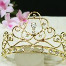 Golden Bridal crystal small comb hair accessories,wedding tiara filigree rhinestone headpiece 18G
