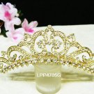 Golden crystal bridal comb hair accessories,wedding tiara,rhinestone headpiece veil 4705G