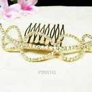 Bridal golden crystal comb hair accessories,wedding tiara,rhinestone headpiece veil 2051G