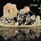 Bridal headpiece veil,bridal hair accessories,wedding rhinestone golden tiara 5788G